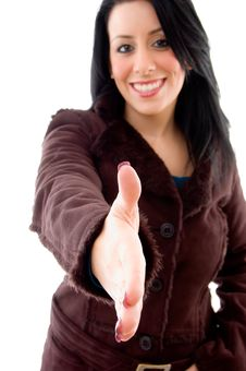 Free Smiling Model Offering Handshake On White Stock Photography - 8277012