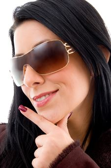 Free Side Face Of Young Smiling Woman With Sunglasses Stock Photo - 8277050