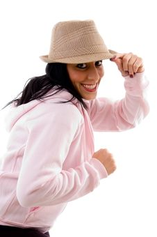 Free Smiling Model Holding Hat On White Background Stock Photos - 8277253