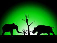 Free Elephant And Rhino Silhouette Royalty Free Stock Images - 8277769