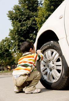 Free Boy Washing Car Stock Photo - 8278090