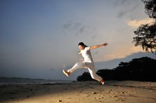 Free Yoga By The Beach Royalty Free Stock Photo - 8278495