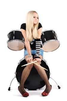 Free Rock-n-roll With The Beautiful Blonde Stock Photos - 8278703