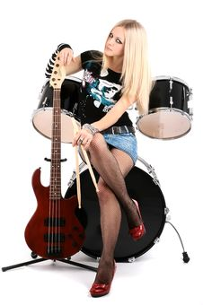 Free Rock-n-roll With The Beautiful Blonde Stock Images - 8278714
