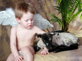 Free LIttle Angel And His Lamb Stock Photos - 8289013