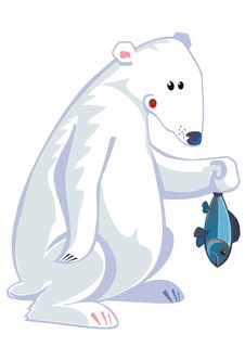 Free Polar Bear Holding Fish Royalty Free Stock Image - 8280276