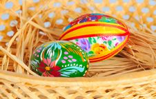 Free Two Eggs Lie On Straw Royalty Free Stock Photography - 8280317