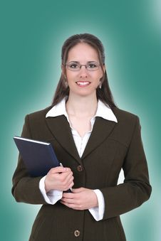 Free Woman Holding A Notebook Royalty Free Stock Photo - 8280635