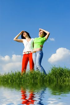 Free Two Young Women Dreams To Fly On Winds Stock Photos - 8280703