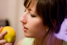 Free Girl And Lemon Stock Photography - 8280722