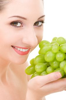 Pretty Woman With Green Grape Royalty Free Stock Photo