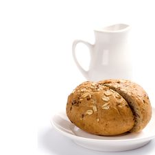 Free Bread And Jug Of Milk Stock Photo - 8281360