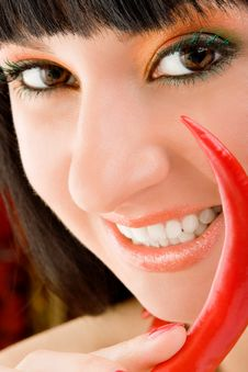 Free Girl With Chili Pepper Stock Photography - 8283512