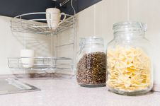 Free Pasta And Coffee Beans In Glass Jars Royalty Free Stock Photography - 8283727