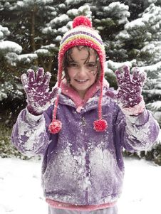 Free Girl Playing In The Snow Royalty Free Stock Photos - 8284088
