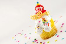 Happy Birthday Clown Cupcake Royalty Free Stock Images