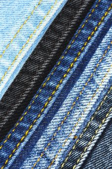 Colored Jeans Sewing Lines Stock Images