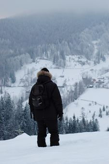 Traveler In The Mountains Royalty Free Stock Photo