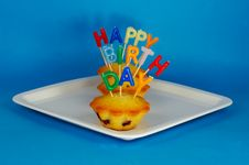 Free Cupcakes With Candle Stock Image - 8286641