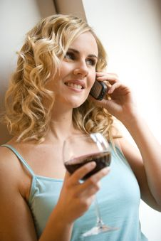 Free Woman Drinking Wine Royalty Free Stock Images - 8286999