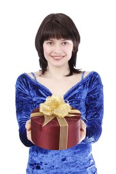 Free Beautiful Woman With A Gift. Stock Photo - 8289650