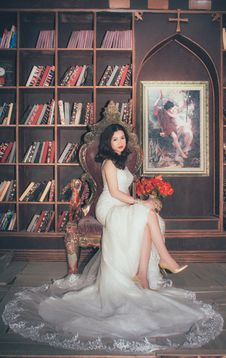Free Bride In Library Chair Stock Images - 82897064