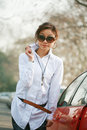 Free Young Girl With Car Stock Photo - 8290590