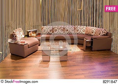Leather beige angular modern sofa Stock Photo