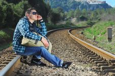 Free Men Waiting For The Train Stock Photos - 8290933