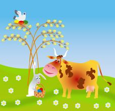 Free An Easter Rabbit Gives A Cow An Easter Egg Stock Photography - 8290952