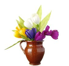 Free Flowers In Vase On White Royalty Free Stock Images - 8291249