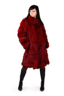 Free Brunette Is In A Red Fur Coat Royalty Free Stock Images - 8293959