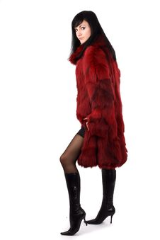 Free Brunette Is In A Red Fur Coat Stock Photos - 8293963