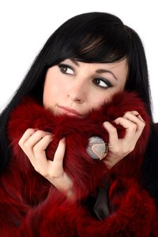 Free Brunette Is In A Red Fur Coat Royalty Free Stock Photo - 8293965