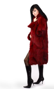 Free Brunette Is In A Red Fur Coat Stock Image - 8293971