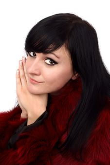 Free Brunette Is In A Red Fur Coat Royalty Free Stock Photo - 8293975