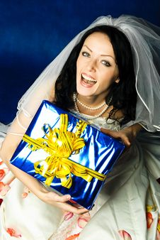 Free Young Bride With A Present Stock Images - 8294374