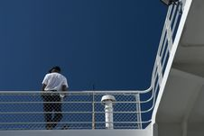 Free Man Leans On Ferry Railing Royalty Free Stock Image - 8294686