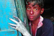 Free A Boy's Face Smeared With Colour Stock Photos - 8294723