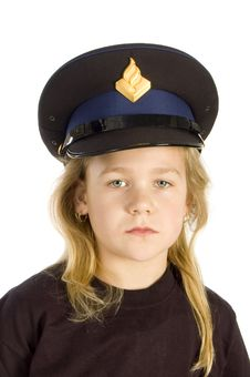 Free Little Girl Is Wearing A Police Hat Royalty Free Stock Image - 8294806