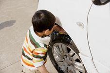 Free Boy Washing Car Stock Photo - 8294940