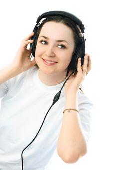 Young Woman Wearing Earphones Royalty Free Stock Image