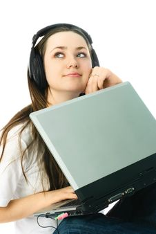 Free Thoughtful Woman With A Laptop Stock Image - 8295811