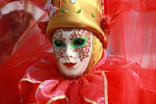Venecian Carneval Mask Red Stock Images