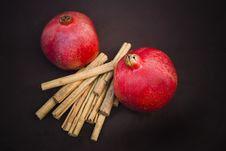 Free Pomegranates And Cinnamon Royalty Free Stock Photography - 8296287