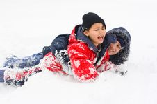 Free Children And The Snow Royalty Free Stock Images - 8296439