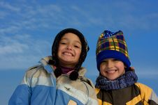 Free Cute Girl And Boy Winter Portrait Royalty Free Stock Photos - 8297388