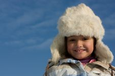Free Smilling Girl Winter Portrait In The Fur-cap Stock Photos - 8297543