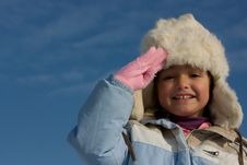 Free Smilling Girl Winter Portrait In The Fur-cap Royalty Free Stock Image - 8297556