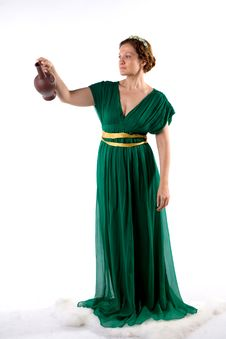 Free Lady In Green Handing Jug Stock Photography - 8297782